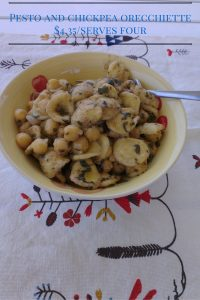A plate of pesto and chickpea orecchiette, $4.35 serves four