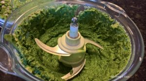Green filling processed in a food processor