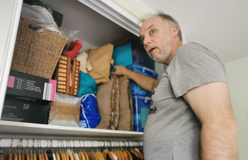 Neil looking shocked at the amount of stuff we have