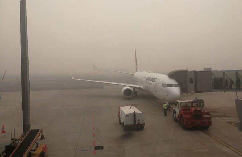 Canberra airport in smoke haze