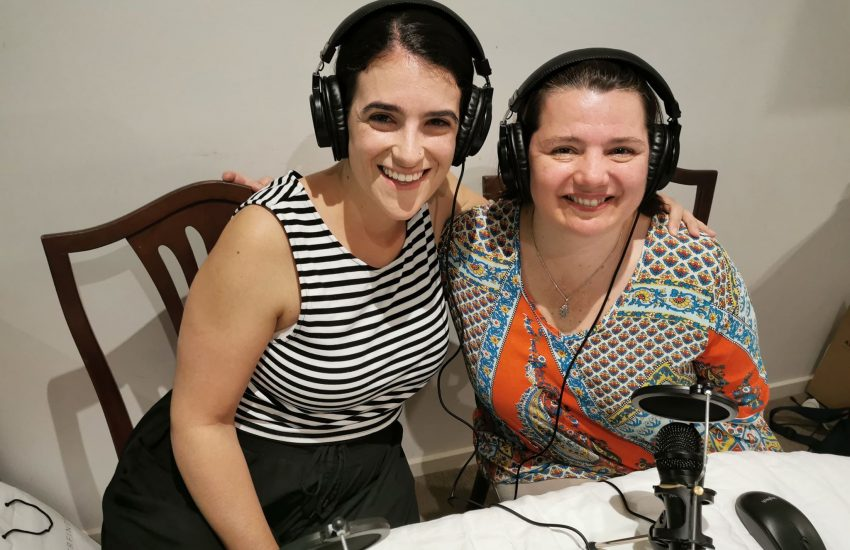 Serina and Bec podcasting