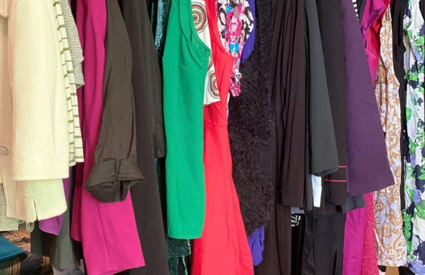 Two racks of clothing